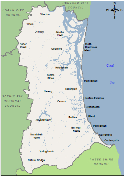 gold coast queensland map. Gold Coast City Council - LGAM