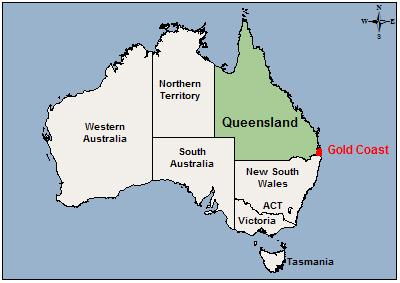 Surfers paradise australia map